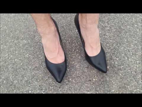 Schwarze Echt-Leder Stiletto Pumps