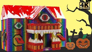 Build And Decorated Scary Halloween House From Magnetic Balls (Satisfying)   Magnet World Series