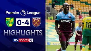 SUBSCRIBE ► http://bit.ly/SSFootballSub PREMIER LEAGUE HIGHLIGHTS ► http://bit.ly/SkySportsPLHighlights Highlights from West Ham's comfortable win against Norwich City as Michail Antonio took centre stage with an impressive performance, scoring four times as Norwich City were relegated with defeat.   Watch Premier League LIVE on Sky Sports here ► http://bit.ly/WatchSkyPL ►TWITTER: https://twitter.com/skysportsfootball ►FACEBOOK: http://www.facebook.com/skysports ►WEBSITE: http://www.skysports.com/football  MORE FROM SKY SPORTS ON YOUTUBE: ►SKY SPORTS CRICKET: https://bit.ly/SubscribeSkyCricket ►SKY SPORTS BOXING: http://bit.ly/SSBoxingSub ►SOCCER AM: http://bit.ly/SoccerAMSub ►SKY SPORTS F1: http://bit.ly/SubscribeSkyF1