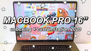 UNBOXING AND CUSTOMIZING MY NEW MACBOOK PRO 2020 16 | How To Customize Your Macbook