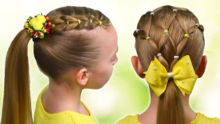 2 AMAZING SUMMER HAIRSTYLES | PIGTAILS And ELASTICS (Easy Little Girl Hairstyles  #23) #LGH