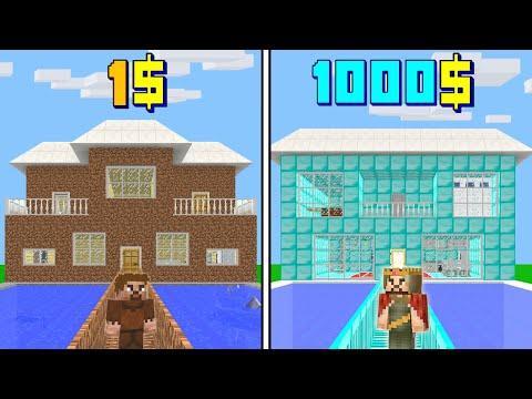 1$ FAKİR EV VS 1000$ ZENGİN EV! 😱 - Minecraft