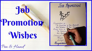 Job Career promotion Wishes : Congratulations on your success. Satisfying Handwriting