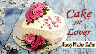 Decorate Heart Cake With Love Roses
