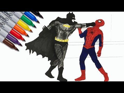 SPIDER-MAN Vs BATMAN Coloring Pages | SAILANY Coloring ...
