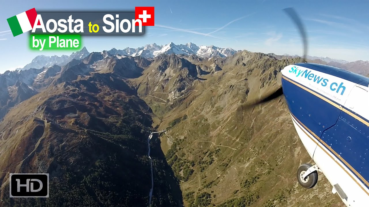 Flying from Aosta Italy across the Alps to Sion Switzerland