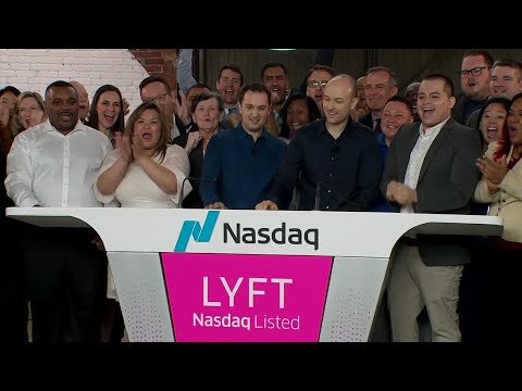 The co-founders of ride-sharing service, Lyft took the company public and celebrated by ringing the opening bell of the NASDAQ Friday morning in Los Angeles, the company's biggest market. (March 29)