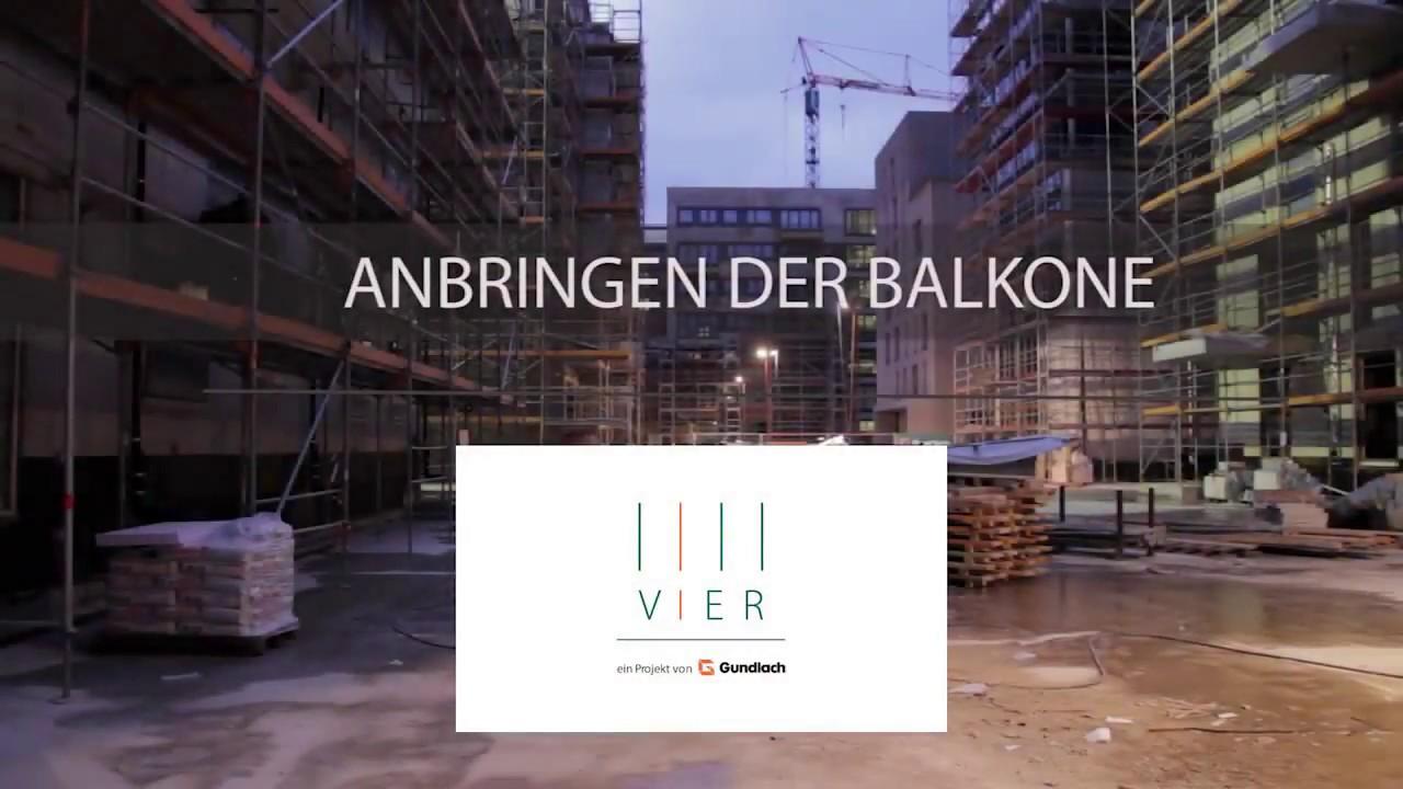 Anbringen der Balkone | VIER im Pelikanviertel | Gundlach