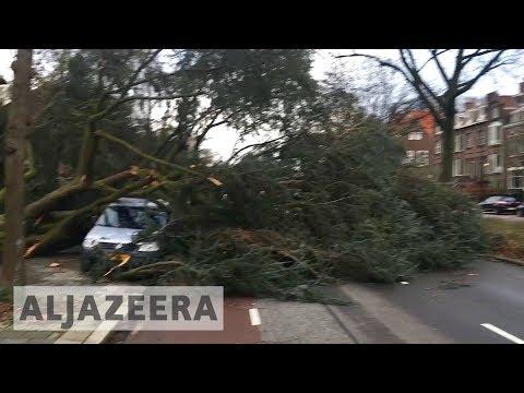 Deadly storm Friederike batters western Europe