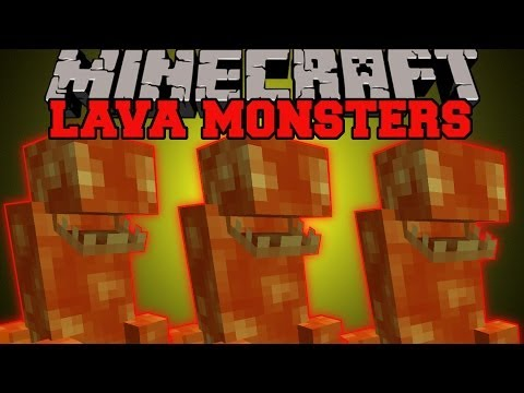 Minecraft: LAVA MONSTERS (DEADLY BEASTS LIVING IN LAVA!) Lava Monster Mod Showcase