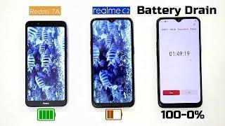 Redmi 7A Vs Realme C2 Battery Drain Comparison(100-0% on Actual Uses)