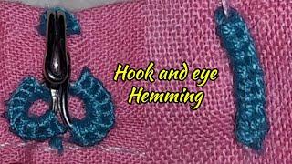 so easy make to hook & eye hemming stitching    hook & eye stitching   easy method by hook & eye