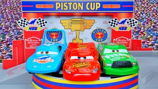Disney Pixar Cars Piston Cup Race Garage The King Lightning Mcqueen Chick Hicks Who Won?