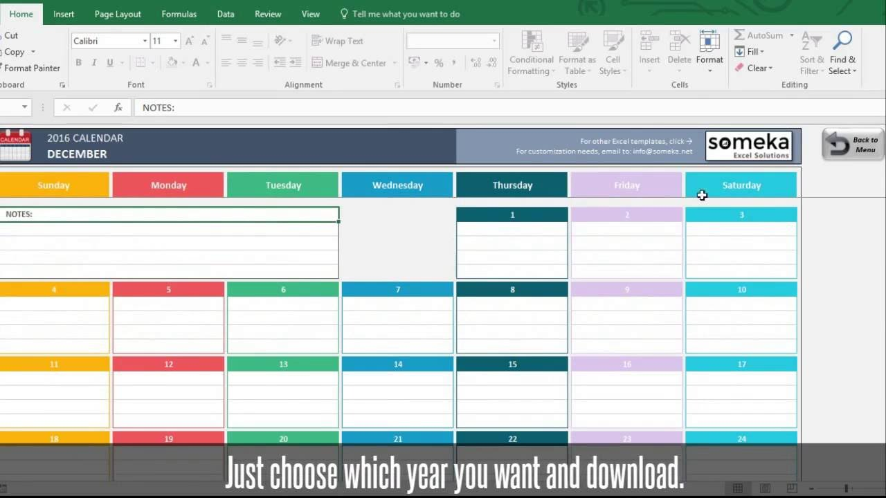 Excel Calendar Templates - Download FREE Printable Excel Template
