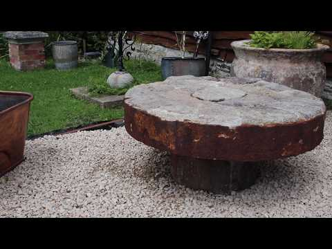 SOLD   Large Segmented Millstone Patio Table (Stk No.3798)