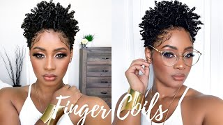 Shiny Defined Moisturized Finger Curls & Coils On Tapered Cut | Short Natural Hair Tutorial
