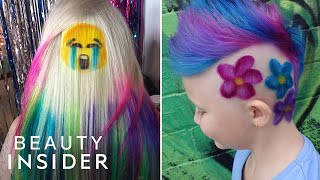 Hair Artist Gives Clients Rainbow Hair Tattoos