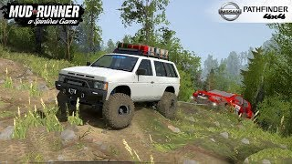 Spintires: MudRunner - NISSAN PATHFINDER / TERRANO Pulls the Car out of the Ditch