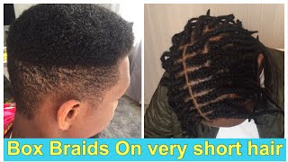How To : Box Braids On Short Hair; With Marley Hair( For Men) Part 1