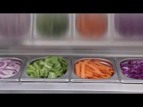 video 1, Saladette 3 portes GN1/6 à capot