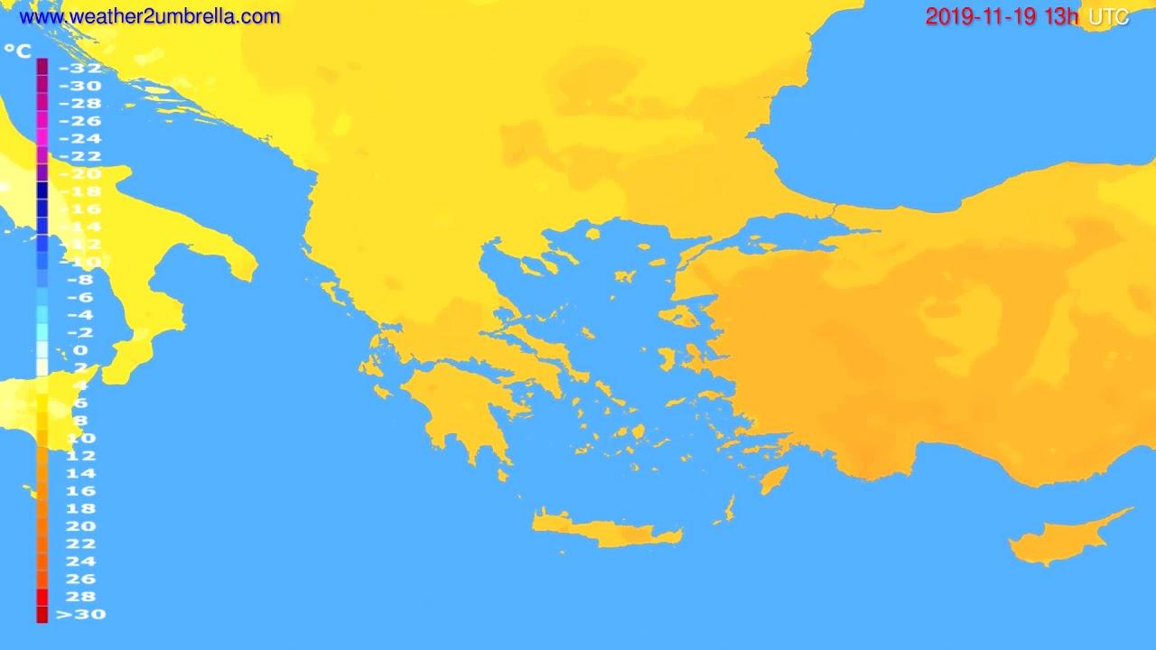 Temperature forecast Greece // modelrun: 12h UTC 2019-11-17