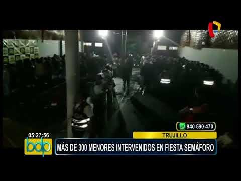 Trujillo: intervienen a más de 300 menores en fiesta semáforo