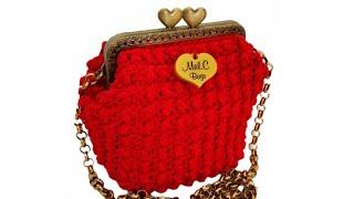 TUTORIAL Pochette Clic Clac  CUORE / Mel C Bags Handmade / Punto Popcorn, Punto Nocciolino