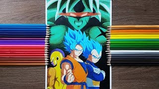 Drawing Goku, Vegeta, Frieza VS Broly | MOVIE STYLE