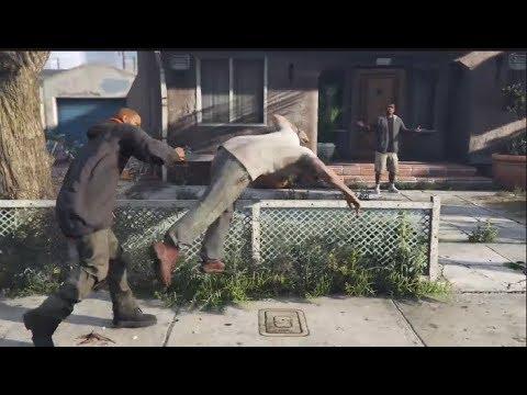 Random Guy Keeps Punching Trevor During Cutscene: GTA V