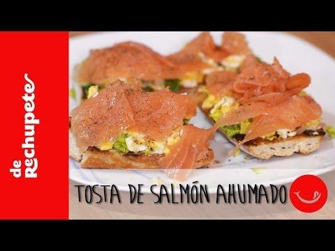 Receta de picoteo o cena rápida, sana y deliciosa: Tostas de salmón ahumado. - 'De Rechupete'