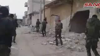 وحدات الجيش تمشط بعض أحياء معرة النعمان بعد دحر الإرهابيين عنها