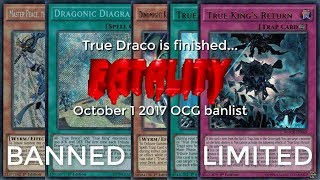 """October 1 2017 OCG Banlist: True Draco Is Finished... """"fatality"""""""