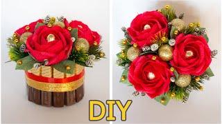 Букет с розами в бобине от скотча ☆ DIY Букет из конфет на Новый Год своими руками ☆ handmade