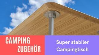 Stabiler Campingtisch - massives Aluminium mit Tischplatte aus Bambus - nichts von der Stange