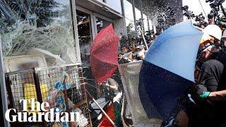 Hong Kong Protesters Try To Smash Their Way Into Government HQ