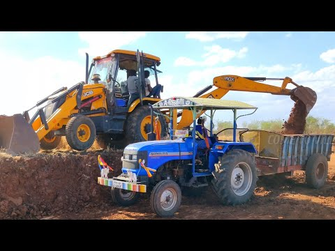 Sonalika DI 47 RX Tractor with fully loaded trolley | JCB 3DX Machine | Come To Village