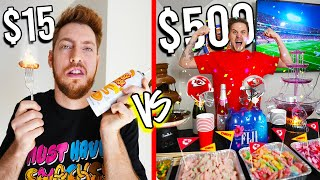 $15 VS $500 SUPER BOWL SNACKS! *Budget Challenge*