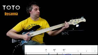 "Toto ""Rosanna""    Bass Play Through With Play Along Tabs (extract)"
