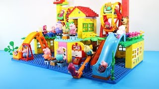 Peppa Pig Building House With Water Slide Toys For Kids - Lego Duplo House Creations Toys #3