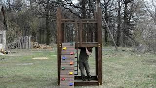 Детская игровая площадка с качелью и кольцами от компании SportStenkaUA Шведская стенка, спортивный уголок с производства, Киев - видео