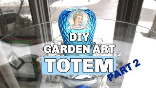 How To Make A Glass Garden Art Totem And Bird Bath 2/2