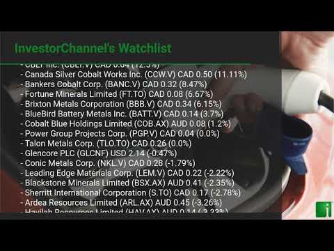 InvestorChannel's Cobalt Watchlist Update for Thursday, September 24, 2020, 16:30 EST