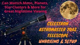 Celestron AstroMaster 70AZ Refractor Telescope 21061 Unboxing and  Setup in Hindi