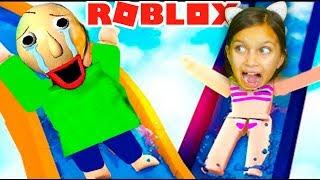 БАЛДИ в АКВАПАРКЕ в РОБЛОКС! BALDI в Реальной Жизни Roblox Robloxian Waterpark Валеришка Для детей