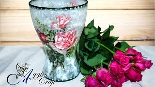 Decoupage Tutorial – Flor em vaso de vidro