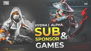 🔴 PUBG MOBILE LIVE : ONLY SPONSOR GAMES!! || SUBSCRIBERS GAMES IN AFTERNOON! 😍 || H¥DRA | Alpha 😎