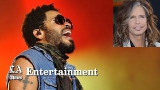 Lenny Kravitz splits pants in a wardrobe malfunction; Steven Tyler reacts