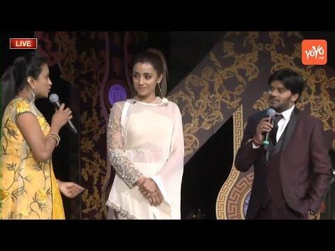 Actress Trisha Extreme Fun with Jabardasth Sudigali Sudheer  and Anchor Suma Kanakala at ATC
