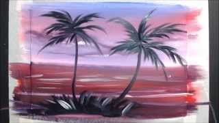 Смотреть онлайн Урок: Как нарисовать пальмы на закате гуашью