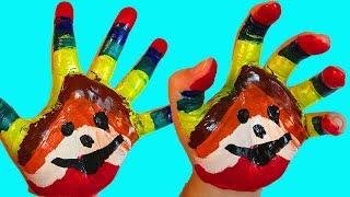 Учим цвета с веселой песенкой Обучающий мультик Песня Про пальчики Рисуем на руке Семья пальчиков